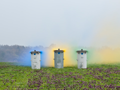 Ondrej Chmel Photography | Truth And The Other Myths | Recycle ism / Bins with blue, yellow, green smoke bombs